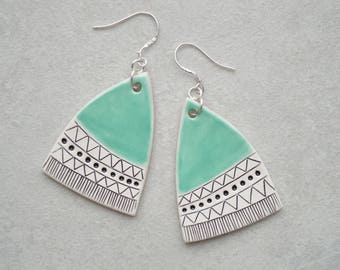 Geometric ceramic dangle earrings with sterling silver hooks, handmade contemporary jewellery