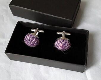 Harris tweed cufflinks purple herringbone cufflinks