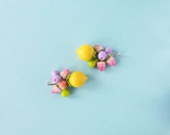 Lemon earrings - Modern earrings - polymer clay - tropical jewelry - citrus - large statement earrings - fruit jewelry - yellow earrings