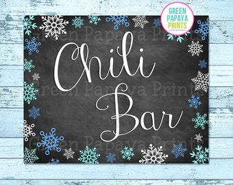 Chili Bar Sign, Instant Download, Winter Wonderland, Winter Onederland, Birthday Party, Printable, Digital File, Printable