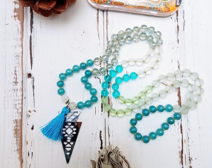 108 bead mala blue aqua color therapy intentional
