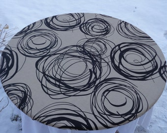 "Round Fitted Tablecloth for 39""-40"" Table; Taupe & Black Cotton Tablecloth with Abstract Graphic Print; Modern Tablecloth; Custom Tablecloth"