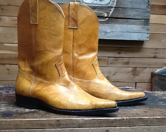 Vintage Western Boots Vtg Light Brown Leather Cowboy Riding Boots  Women's Size 8