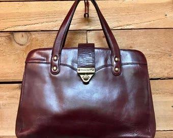 Vintage Etienne Aigner Handbag Vtg Mahogany Brown Leather Designer Purse with Brass Hardware
