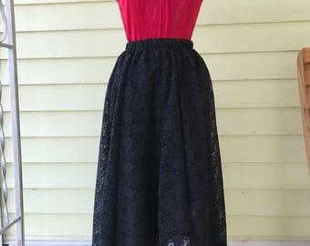 Long Full Skirt Black Lace Over Cotton Underskirt/ 1980s/Large 12-14-16/Carefree Fashions Scottsdale Arizona/Boho/Rockabilly/Gypsy/Goth