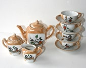 1930's Mickey & Minnie Mouse Lusterware 13 Piece Tea Set, Steam Boat Willie, Marked: Mickey Mouse Copr. by Walt E. Disney, Made in Japan