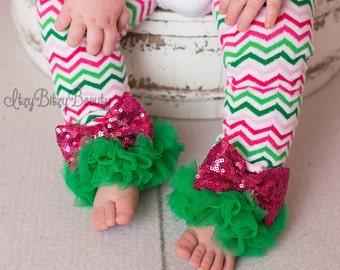 Girls Chiffon Leg Warmers Pink Watermelon Sequin St. Patrick's Day