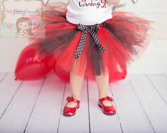 Lady Bug TUTU Skirt Red And Black Polka Dot Bow Ladybug