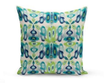 Outdoor Throw Pillow, Outdoor Pillow, Navy Teal Beige Green, Outdoor Decor