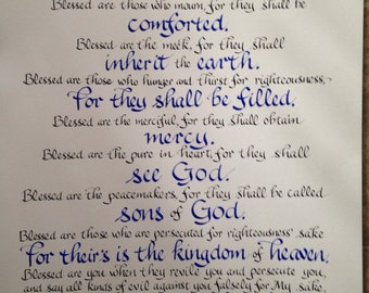 The Beatitudes, Christian Wall Art, Christian Decor, Scripture Art, Religious Art, Hand lettered on acid free watercolor paper, 18 x 24