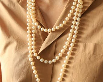 Long Pearl Necklace - Wrap Pearl Necklace - Beaded Pearl Necklace