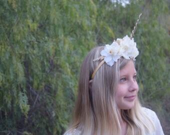 Golden Unicorn Headband - Unicorn Horn Halo - Gold Glittered Unicorn Horn Headband - Birthday Headband- Unicorn Party Headband -Costume