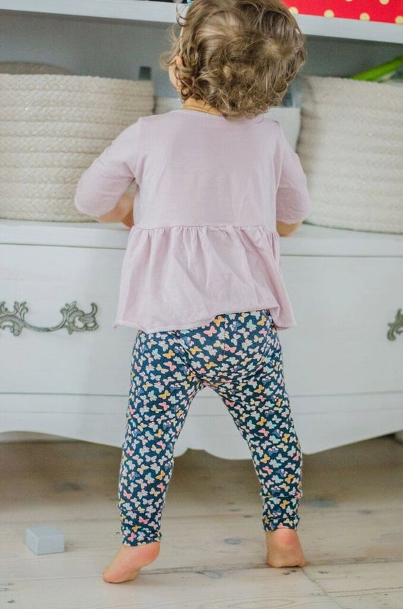 Items similar to Butterfly Cuffed Leggings Girls Leggings Girl Clothing Baby Shower Gift ...