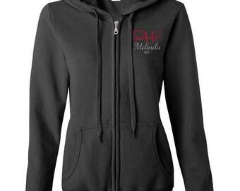 Stethoscope EKG Nurse Zip up Hoodie Jacket with Personalized Name - Nursing Rn LpN EmS Md Zip Hoodie Sweatshirt S M L Xl  2Xl 3Xl  Lifeline