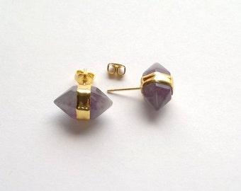 Amethyst Earrings Purple Stone Stud Earrings Amethyst Studs Purple Stone Studs Crystal Earrings Crystal Studs Gold Purple Crystal Studs
