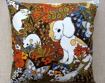 "Vintage Pat Albeck 1970s Sanderson Fabric Cushion ""Spot And Friends"" 40cmx40cm With Interior"