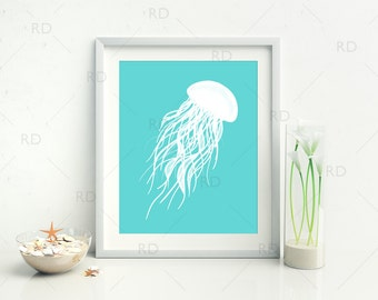 Jellyfish with Aqua and Khaki - PRINTABLE Wall Art / Hand Drawn Jellyfish Printable / Wall Art / Ocean Art / Nautical / 2 for Price of 1