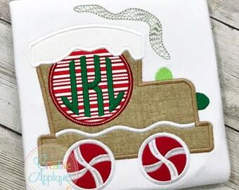 Christmas Gingerbread Monogram Train Applique Digital Machine Embroidery Design 4 Sizes, train applique, christmas train applique