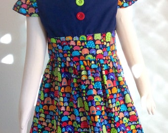 Girls toddlers dress,  cotton dress, animal print dress, cap sleeves, blue, red, yellow, buttons, turtles dress, l  2T 3T 4T 5T,