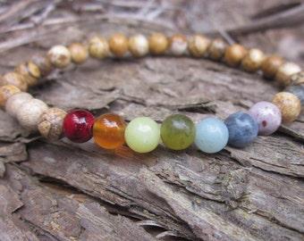 7 chakra gemstone aventurine,jade,sodalite,quartzite, agate, amazonite & picture jasper beads stretch stackable yoga bracelets