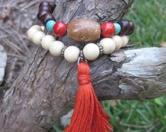 tassel bracelet set of 2 orange tassel bohemian bracelets Mens / women's coral & turquoise jewelry river stone wooden beads stretch bracelet