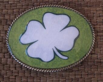 belt buckles Lucky four leaf clover Luck of the Irish belt buckle  Shamrock Belt Buckle mens belt buckle women's belt buckle St Patricks Day