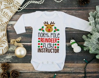 christmas baby long sleeve bodysuit - baby christmas clothes - north pole reindeer