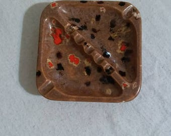 Vintage Glazed Ceramic Ashtray, Funky Mod Red & Black Spots, Signed 1975