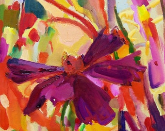 """Original abstract oil painting -""""Cosmea"""" - Fine art - abstract expressionism painting"""