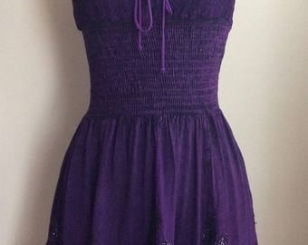 Vintage 1980's Violet Sundress with Black & Silver Embroidery/Spaghetti Straps/Made in India/Bohemian Dress/Hippie Sundress