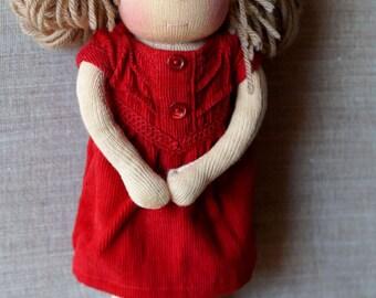 Lulu Waldorf Cloth Doll - 10.63 inch. OOAK doll. Steiner doll.