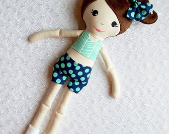 Cheerleader Doll, cloth doll, handmade doll, cheer gift, cheerleading, plushie, girls room decor, girls toy, dress up doll