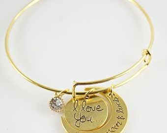 """Gold Plated """"I Love You to the Moon & Back"""" Expandable Wire Bracelet w/add'l Faceted Crystal"""