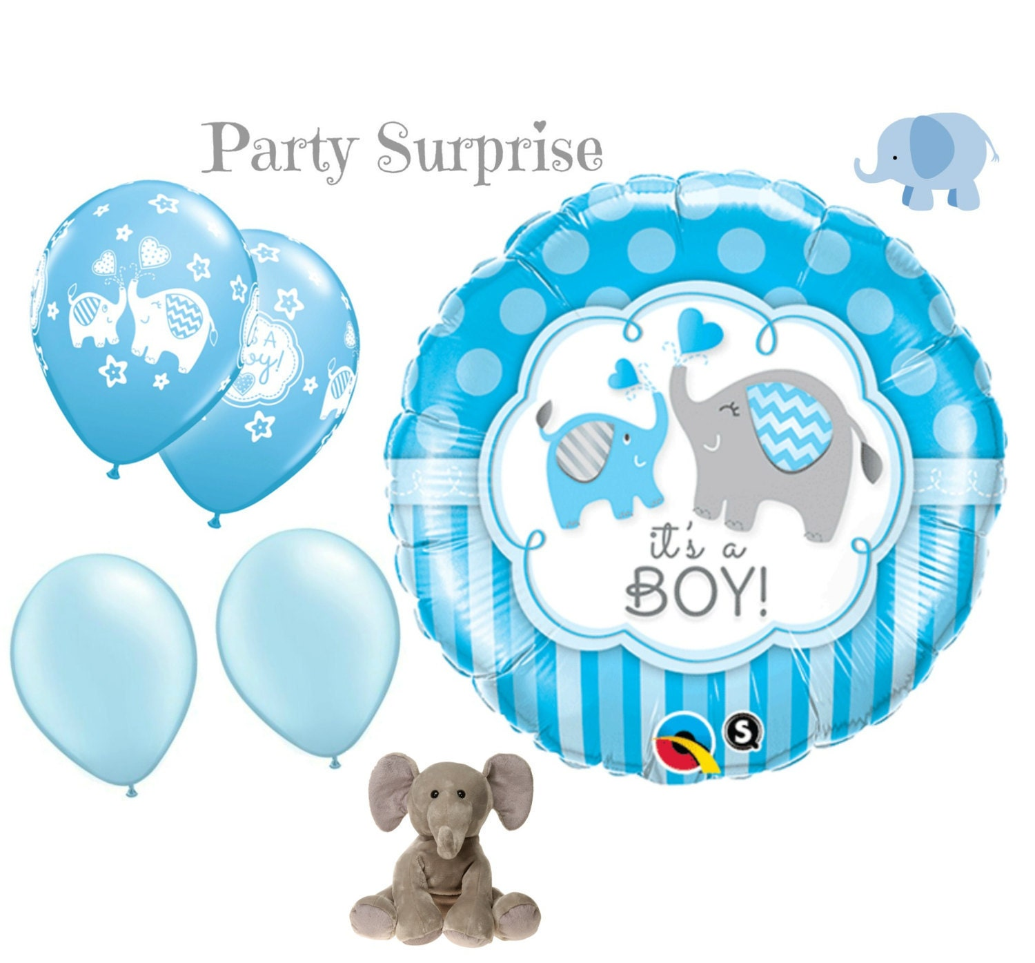 Baby Boy Elephant Balloons Boy Baby Shower Elephant Theme