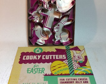 Vintage Aluminum Easter Shape Cookie Cutters,  Set of 6
