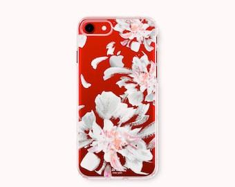 Floral iPhone 7 Case, iPhone 7 Plus Case, iPhone 6/6S Case, iPhone 6/6S Plus Case, iPhone 5/5S/SE Case, Galaxy S8/S8Plus Case- White Flowers