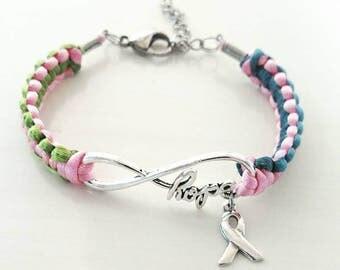 Metastatic Breast Cancer HOPE Charm Bracelet You Choose Optional Letter Charm