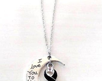Black Melanoma Skin Cancer Awareness Ribbon I Love You To the Moon and Back Necklace You Select Chain Material and Length