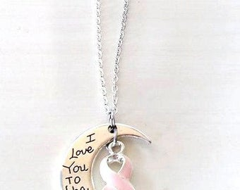 Pink Awareness I Love You To the Moon and Back Necklace You Select Chain Material and Length