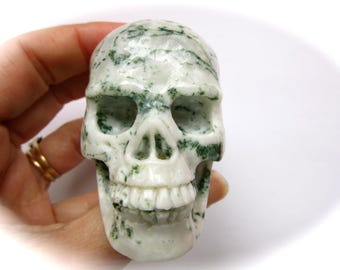 Dendritic Tree Agate Carved Crystal Skull 60mm 151g