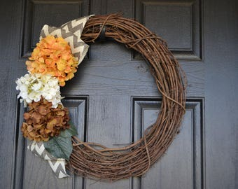 Chevron Burlap Grapevine Front Door Wreath with Hydrangea Flowers  - Orange, Cream, Brown Year round, spring wreath