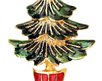Christmas Tree Pin Green Red Enamel Goldtone Nice Quality