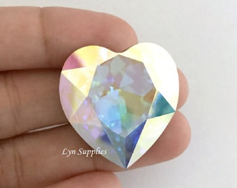 4827 CRYSTAL AB 28mm Swarovski Crystal Heart Fancy Stone No Hole