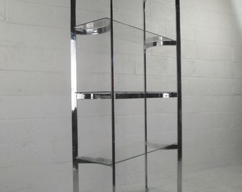Curved Mid-Century Modern Chrome and Glass Etagere SALE (6906)JR
