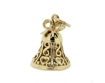 14K Yellow Gold Bow and Heart Lace Bell Charm