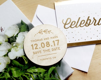 Wood Save the Dates - Rustic Save the Date Coasters - Mr and Mr - Wedding Coasters - Engraved Coasters - Wedding Gift - Wedding Coasters