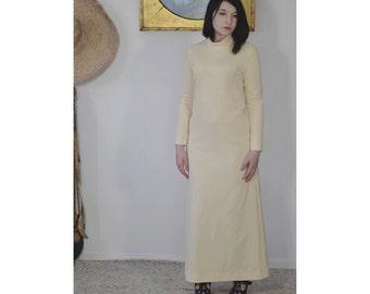 Vintage 60s/1960s white maxi dress with turtleneck collar Cream white Small
