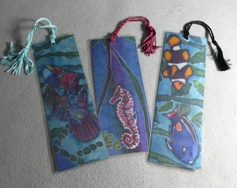 "Bookmarks (set of 3) ""From the Sea"", Hand Painted Silk Art Bookmarks"