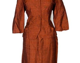 Original Vintage 1950's Lorch Hobbies Terracotta  Brown Burnt Orange Cotton Skirt Suit Dress Size M Medium