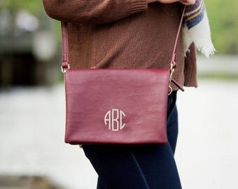 Palmer Monogrammed Wine Crossbody, Monogrammed Shoulder Bag, Monogrammed Handbag, Monogram Purse, Bridesmaid Gift